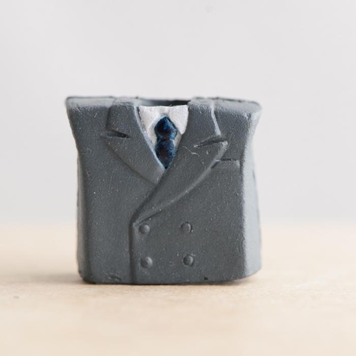 Grey Suit With Blue Necktie Chestpiece