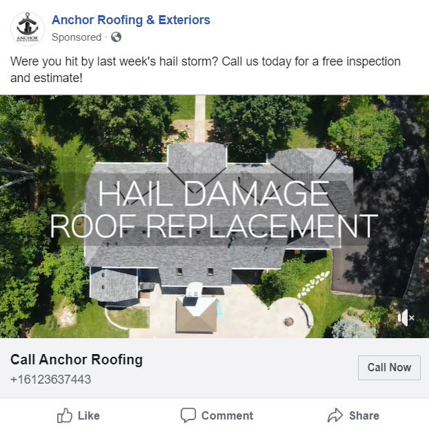 Anchor Roofing Facebook Ad