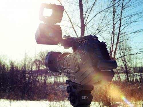 Filming outdoors in the Minnesota winter